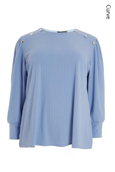 Curve Blue Ribbed Top